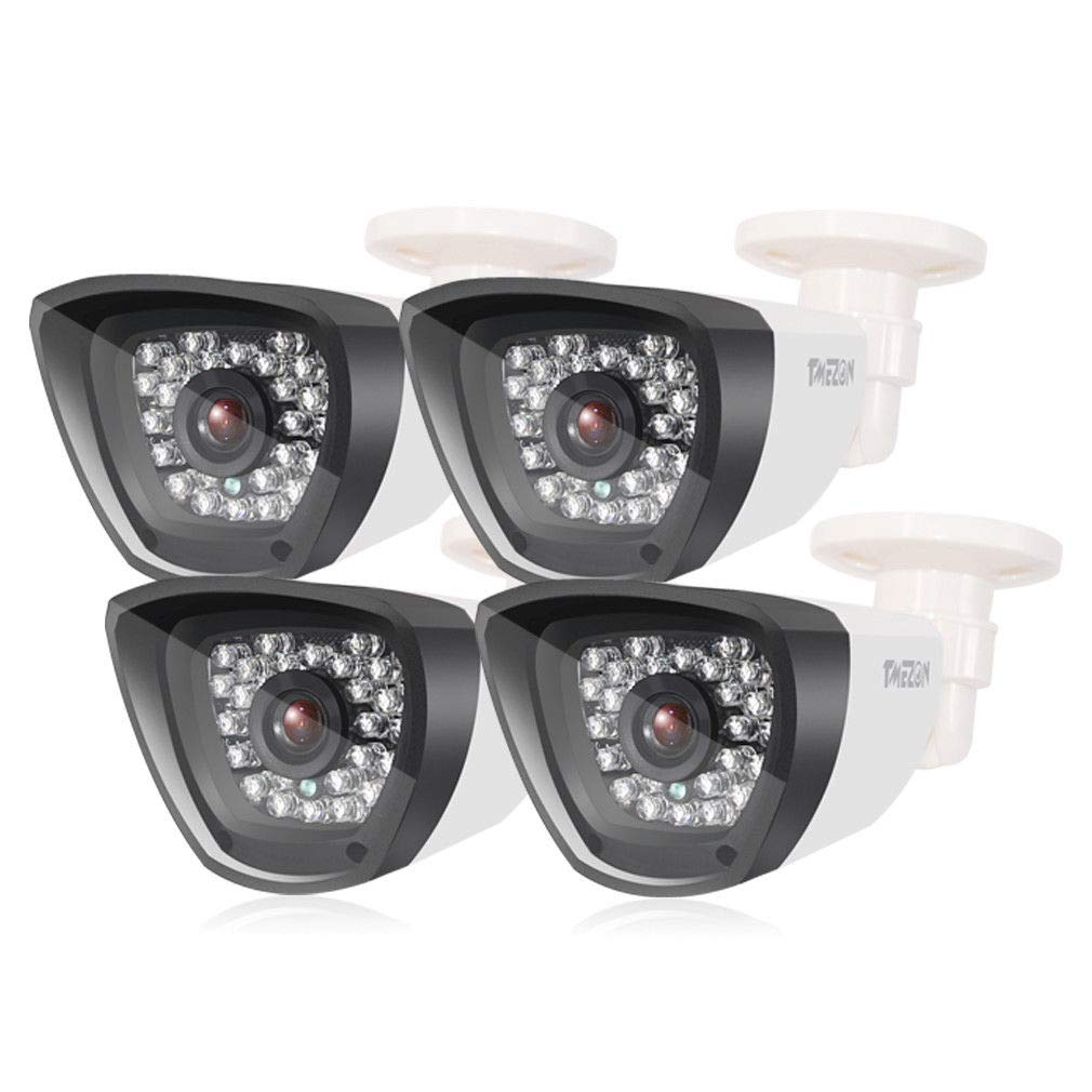 TMEZON 4 Pack 800TVL 960H CCTV Camera HAD IR Cut Outdoor/Indoor 30 Infrared Lens CCTV Dome HD Home Surveillance Security Camera Day Night Vision 3.6mm White