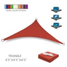 Tuosite Terylene Waterproof Sun Shade Sail UV Blocker Sunshade Patio Equilateral Triangle Knitted 220 GSM Block Fabric Pergola Carport Awning 6'5'' x 6'5'' x 6'5'' in Color Iron Red