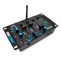 Wireless DJ Audio Mixer Machine - 3 Channel Bluetooth Compatible DJ Controller Sound Mixer System with Mic-Talkover, USB Reader, Dual RCA Phono/Line In, Microphone Input, Headphone Jack - Pyle PMX7BU