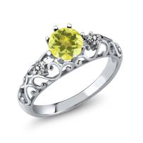 Gem Stone King 1.12 Ct Round Canary Mystic Topaz White Diamond 925 Sterling Silver Ring