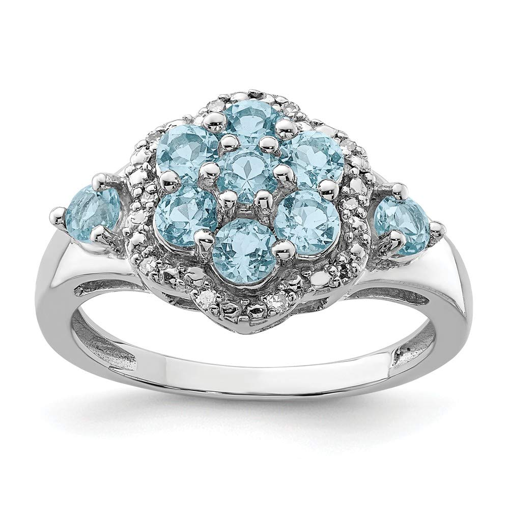 925 Sterling Silver Diamond Swiss Blue Topaz Band Ring Gemstone Fine Jewelry For Women Gift Set
