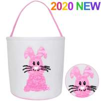TOPLEE Easter Eggs Hunt Basket for Kids Canvas Bunny Basket Egg Bags Rabbit Fluffy Tails Party Celebrate Decoration Gift Toys Carry Bucket Tote