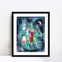 """INVIN ART Framed Canvas Giclee Print Art Knight by Marc Chagall Wall Art Living Room Home Office Decorations(Black Frame with Mat,24""""x32"""")"""