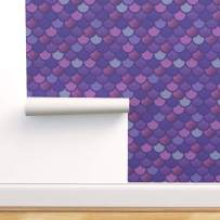 Spoonflower Pre-Pasted Removable Wallpaper, Purple Mermaid Scales Pink Fish Marine Mauve Tail Print, Water-Activated Wallpaper, 12in x 24in Test Swatch