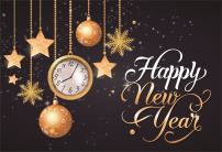AOFOTO 10x7ft Happy New Year Backdrop 2020 Christmas Ball Stars Snowflake Time Clock Background Carnival Party Decoration Holiday Eve Celebration Evening Reception Festival Banner Photo Studio Props