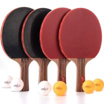Jebor Professional Ping Pong Paddle Advanced Trainning Table Tennis Racket with Carry Case, 7 ply Wooden Blade with Long Handle 0.6MMRubbers