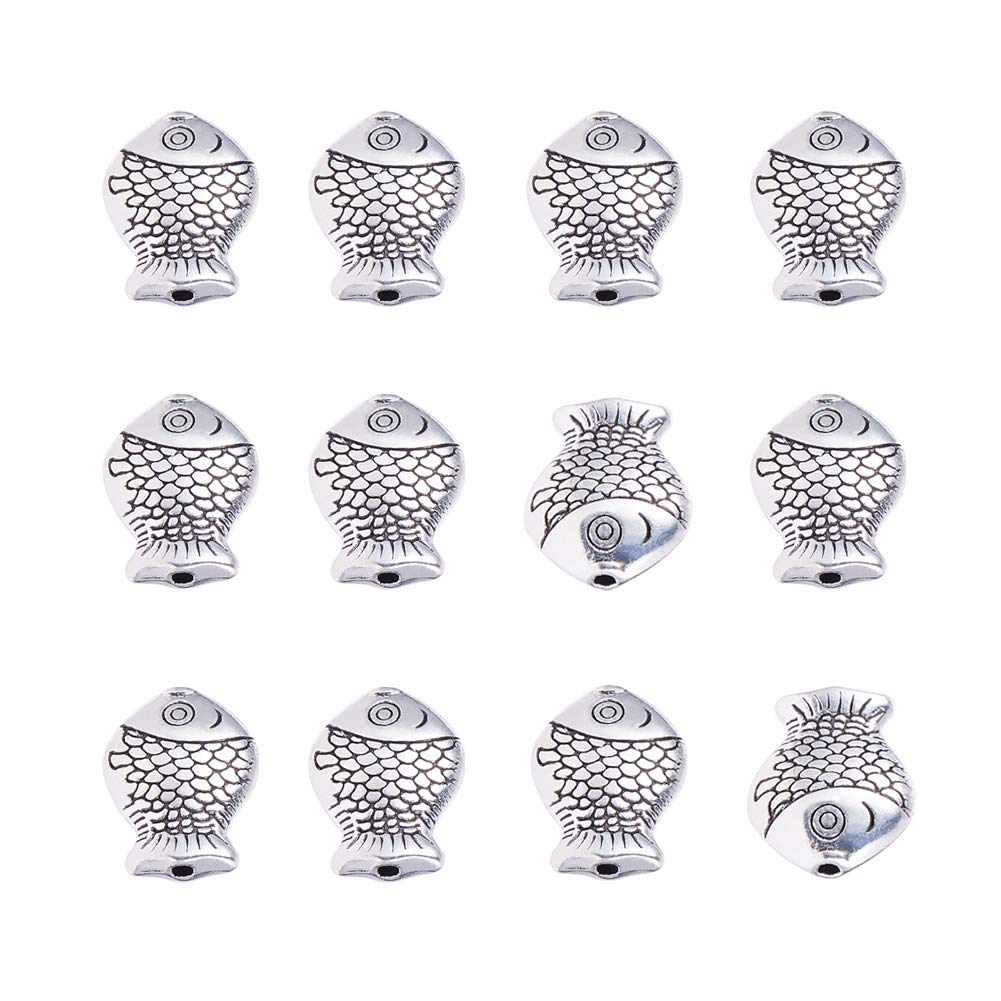 PH PandaHall 60pcs Fish Spacer Beads Tibetan Alloy Antique Silver Animal Metal Beads Charms for Summer Bracelet Jewelry Making, 14x11mm