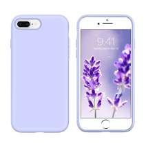 DUEDUE iPhone 7 Plus Case, iPhone 8 Plus Case, Liquid Silicone Soft Gel Rubber Slim Cover with Microfiber Cloth Lining Cushion Shockproof Full Protective Case for iPhone 8 Plus/7Plus Cute, Purple