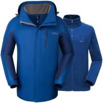 Cleesmil Men's 3 in 1 Ski Jacket Hooded Windbreaker Waterproof Snow Coat with Fleece Liner