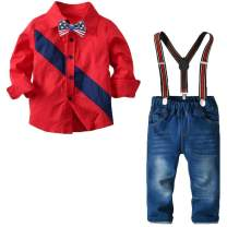 YALLET Baby Suits for Boys Bow Ties Shirts & Suspenders Pants Toddler Boy Gentleman Outfits Suits for Kids 1-7T