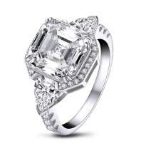 YUNKAI 6 Carat Asscher cut 10x10mm SONA 5A+ Cubic Zirconia Engagement Rings for Women, 925 Sterling Silver Anniversary Ring with 3-stone style