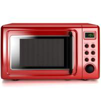 COSTWAY Retro Countertop Microwave Oven, 0.7Cu.ft, 700-Watt, Cold Rolled Steel Plate, 5 Micro Power, Delayed Start Function, with Glass Turntable & Viewing Window, LED Display, Child Lock (Red)