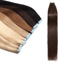 Tape In Hair Extensions Human Hair Invisible Seamless Skin Weft Double Side Tape Remy Human Hair Extensions Natural Straight For Women (20'',30g/20pcs,#4 Medium Brown)