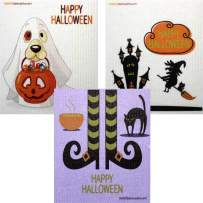 Mixed Halloween B Set of 3 Cloths (one of Each Design) Swedish Dishcloths | ECO Friendly Absorbent Cleaning Cloth | Reusable Cleaning Wipes