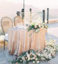 B-COOL Champagne Sequin Tablecloth 90 Round Sequin Tablecloth Glitter Tablecloth for Wedding/Party