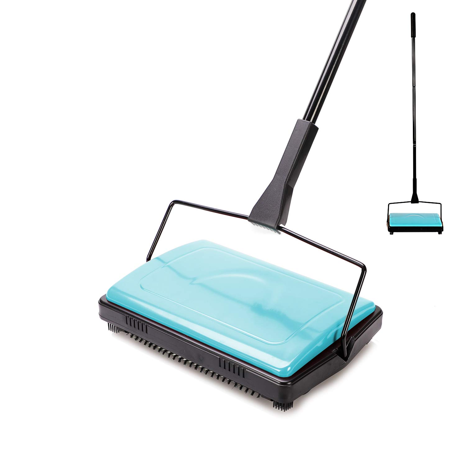 Yocada Carpet Sweeper Cleaner for Home Office Low Carpets Rugs Undercoat Carpets Pet Hair Dust Scraps Paper Small Rubbish Cleaning with a Brush Blue