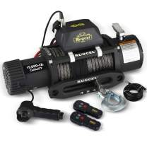 RUGCEL WINCH Waterproof IP68 Electric Winch with Hawse Fairlead,Steel Wire Rope, 1Wired Handle and 2 Wireless Remote (12000 lb.Load Capacity-Synthetic Rope)