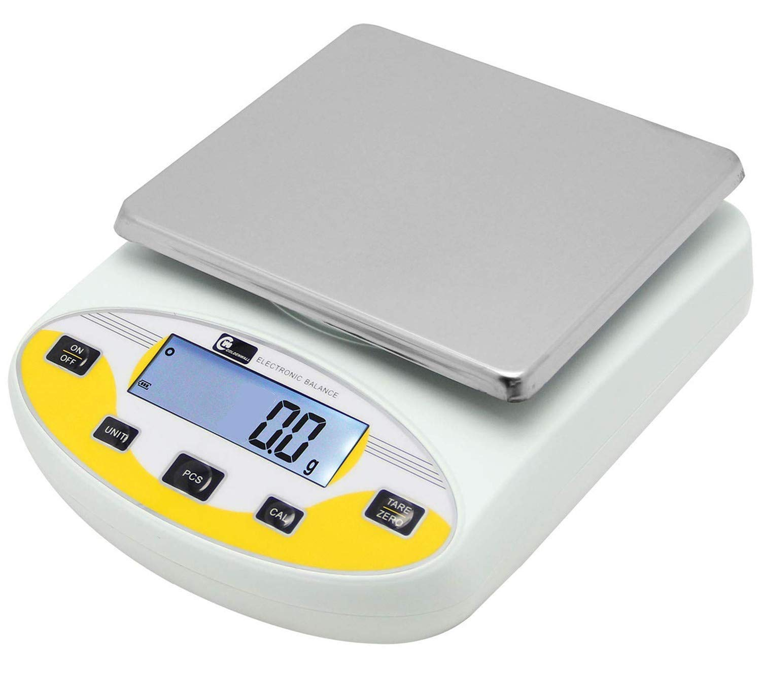 CGOLDENWALL Large range Lab Digital Analytical Balance Lab Precision Scale Jewelry Kitchen Scales Electronic Balance Weighing and Counting Scale 0.1g Calibrated Pan size 180140mm Yellow (20kg, 0.1g)