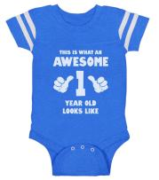 This is What an Awesome One Year Old Looks Like Funny Baby Jersey Bodysuit 18M Blue