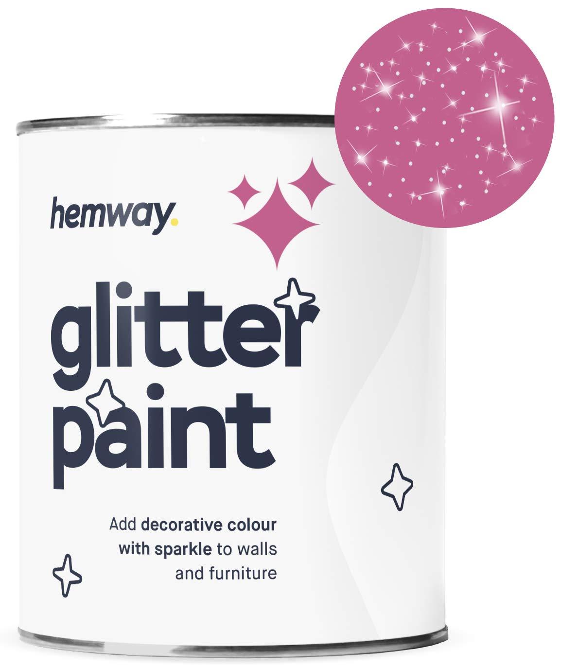 Hemway Silver Glitter Paint 1L Matte Walls Wallpaper Bathroom Furniture Acrylic Latex (Bubblegum Pink)