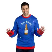 Ugly Christmas Sweater Mens with Lights, Bottle Opener & Koozie Sleeve, Light Up Ugly Christmas Sweater Men Small - 3XL