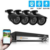 Jennov 4-Channel 5MP POE Home Security Camera System 4pcs Wired 5MP Outdoor POE(Power Over Ethernet) IP Cameras with Audio Recording, 5MP 4-Channel POE NVR Security System(not Including HDD)