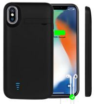 Idealforce iPhone X Battery Case,5000mAh External Backup Power Bank Pack Battery,Portable Power Charger Protective Charging Case for iPhone x/iPhone 10 Support Audio (5000mAh Audio Black)