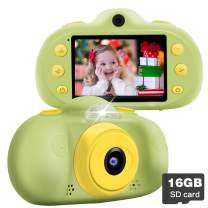 """Kids Camera for 3-12 boy Girl Learning Toys 12 MP Dual Lens Camera HD 1080P Selfie Camera 2.4"""" Mini Child Digital Camcorder with 16G SD Card/Puzzle Game/MP3, Child Outdoor Camera Birthday Gifts"""