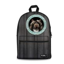 FOR U DESIGNS Casual Gray Cat Lightweight 3d Animal Daypack Backpack for Boys Girls
