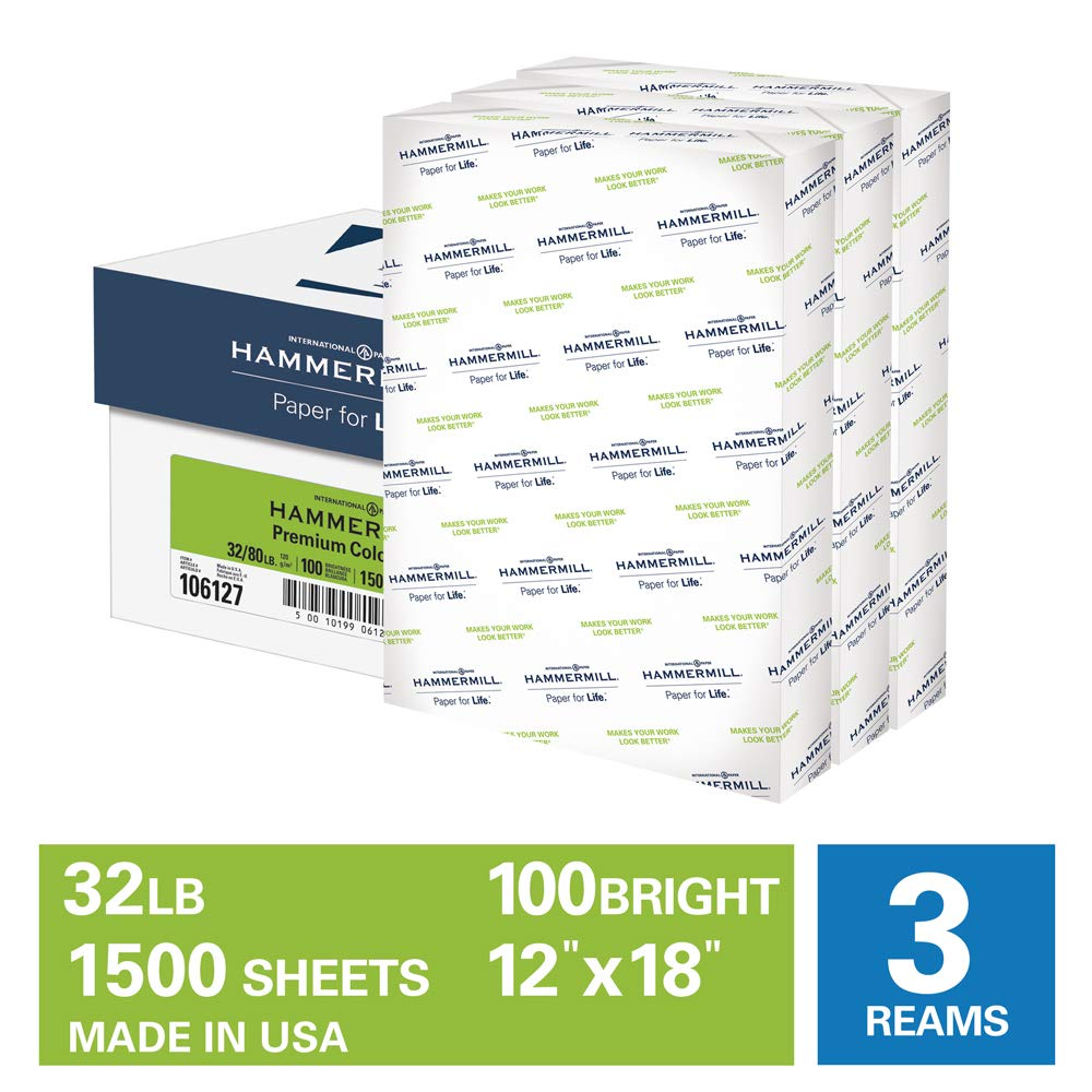 Hammermill Premium Color Copy 32lb Copy Paper, 12 x 18, 3 Ream Case, 1500 Sheets, Made in USA, Sourced From American Family Tree Farms, 100 Bright, Acid Free, Color Copy Printer Paper, 106127C, White