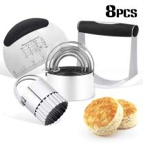 Pastry Cutter Set Baking Dough Tool Stainless Steel Biscuit Mold Set Semicircle Dough Cutter Pastry Scraper Dough Blender for Home Kitchen