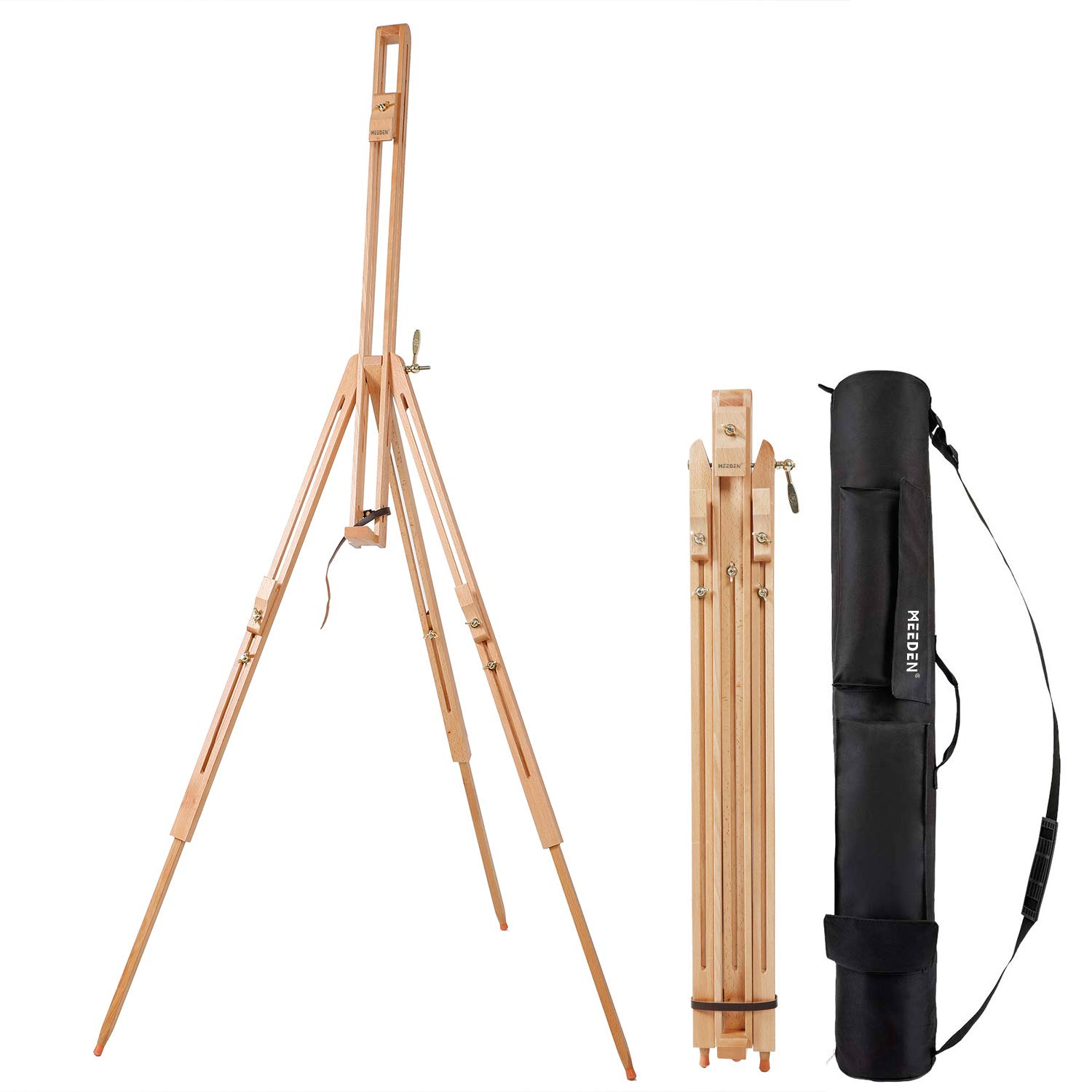 """MEEDEN Tripod Field Painting Easel with Carrying Case - Solid Beech Wood Universal Tripod Easel Portable Painting Artist Easel, Perfect for Painters Students, Landscape Artists, Hold Canvas up to 42"""""""