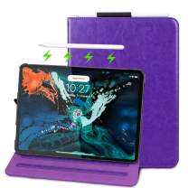 FYY Apple iPad Pro 11 (2018) Case [Support Apple Pencile Charging], Folio Leather Case Smart Cover with [Auto Sleep/Wake Feature] [Card Slots] and [Multiple Viewing Angles] Purple