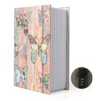 Small Sized Diversion Book Safe Storage Box, Dictionary Secret Safe Can with Security Combination Lock/Key, Diversion Book Hidden Safe (Butterfly-Combination)