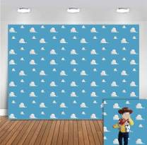 White Clouds Concise Photo Backgrounds for Newborn Baby Shower Supplies Vinyl 5x3ft Blue Photography Backdrops Kids Birthday Party Banner Event Decoration Photo Booth Props Cake Table