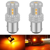 KATUR 1157 BAY15D P21/5W 2057 2357 7528 LED Bulbs High Power 12pcs 3020SMD Chipsets Extremely Bright 2800 Lumens Used for Turn Signal Light, Tail Light, Brake Light, Amber Yellow (Pack of 2)