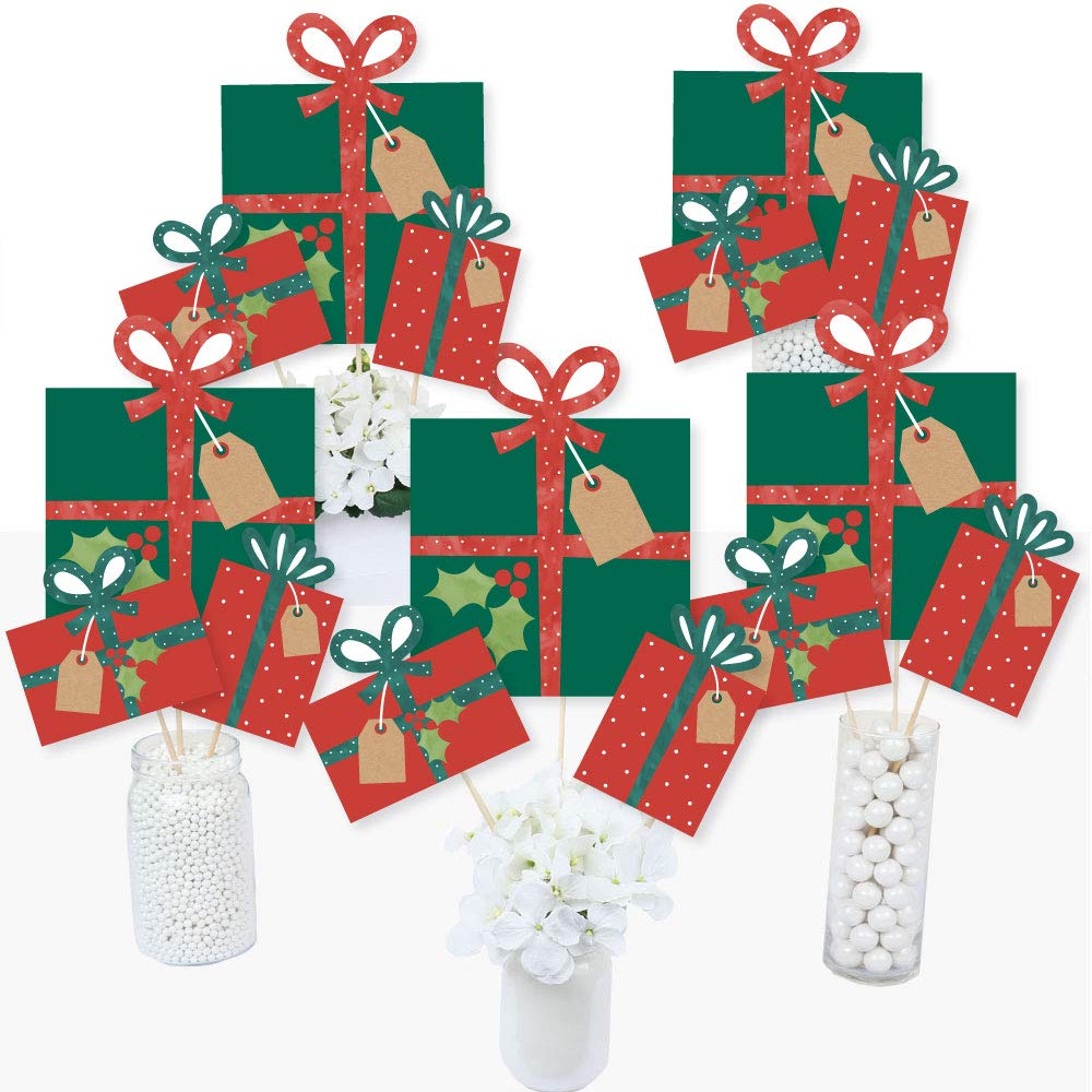 Big Dot of Happiness Happy Holiday Presents - Christmas Party Centerpiece Sticks - Table Toppers - Set of 15