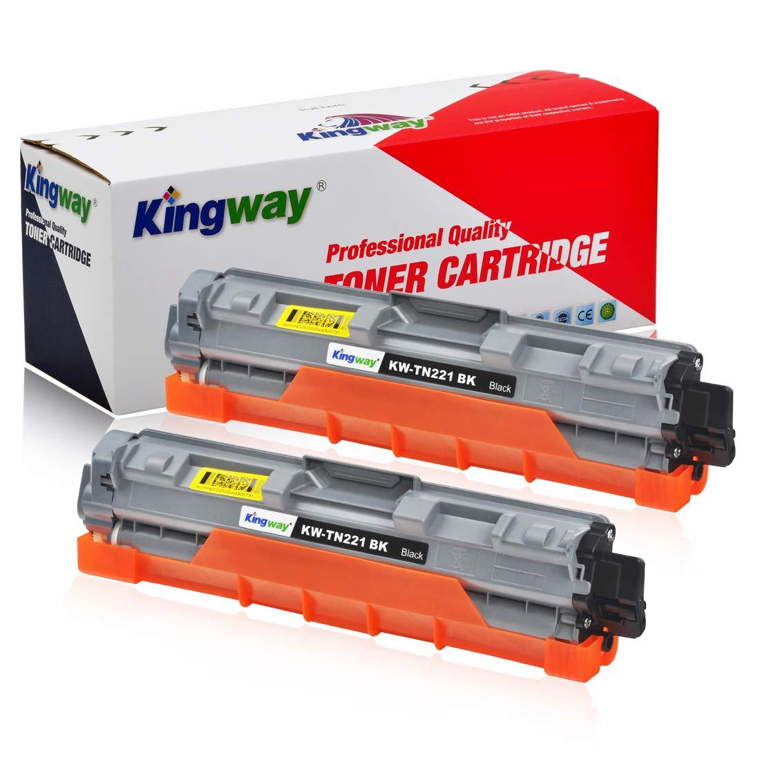 Kingway Compatible Toner Cartridge Replacement TN221 TN225 Work MFC-9130CW HL-3170CDW MFC-9330CDW HL-3140CW MFC-9340CDW HL-3180CDW HL-3150CDN Laser Printer 2 Pack (Black)
