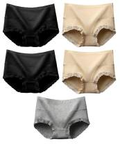LAZAWG 5 Packs Womens Underwear Lace Full Coverage Cotton Brief Panties Multipack Tummy Control Knickers Middle Waist Panties