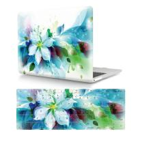 "HRH 2 in 1 Blue Watercolor Flowers Laptop Body Shell PC Protective Hard Case Cover and Matching Silicone Keyboard Cover for MacBook 12"" with Retina Display A1534 (2015 Release)&A1931(2018 Release)"