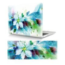 """HRH 2 in 1 Blue Watercolor Flowers Laptop Body Shell PC Protective Hard Case Cover and Matching Silicone Keyboard Cover for MacBook 12"""" with Retina Display A1534 (2015 Release)&A1931(2018 Release)"""