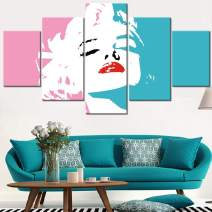 Marilyn Monroe Wall Decor Blonde Girl Pictures for Living Room Sexy Red Lips Wall Art 5 Piece Printed on Canvas Artwork Home Modern Decorations Framed Gallery-Wrapped Ready to Hang(60''Wx32''H)