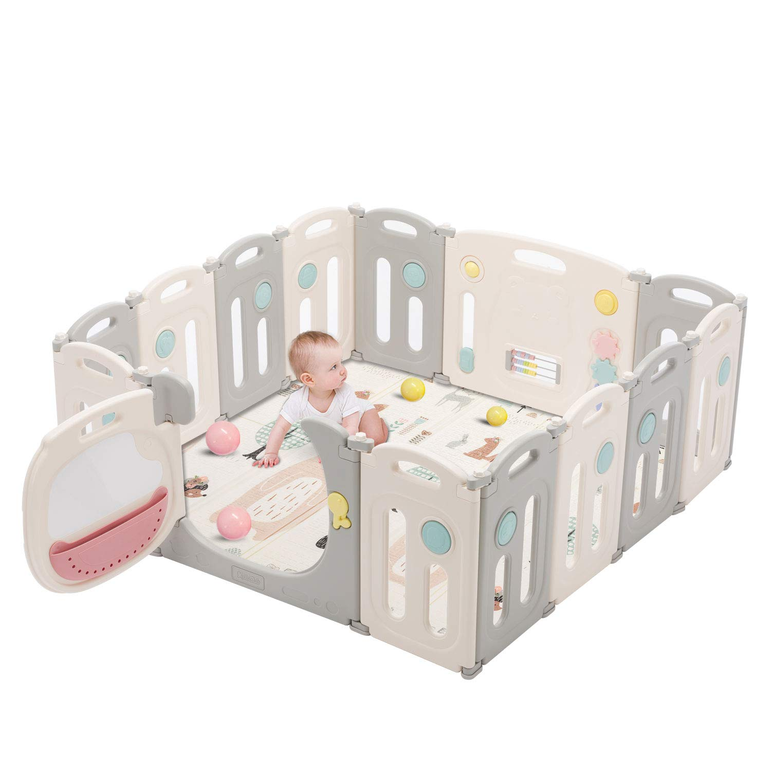 Kidsclub Baby Play Yards Foldable Safety Play Center Baby Playpen Home Indoor Outdoor Pen HDPE Material and BPA Free Baby Fence Infant Play Pin for 3M-6Y (14 Panel)