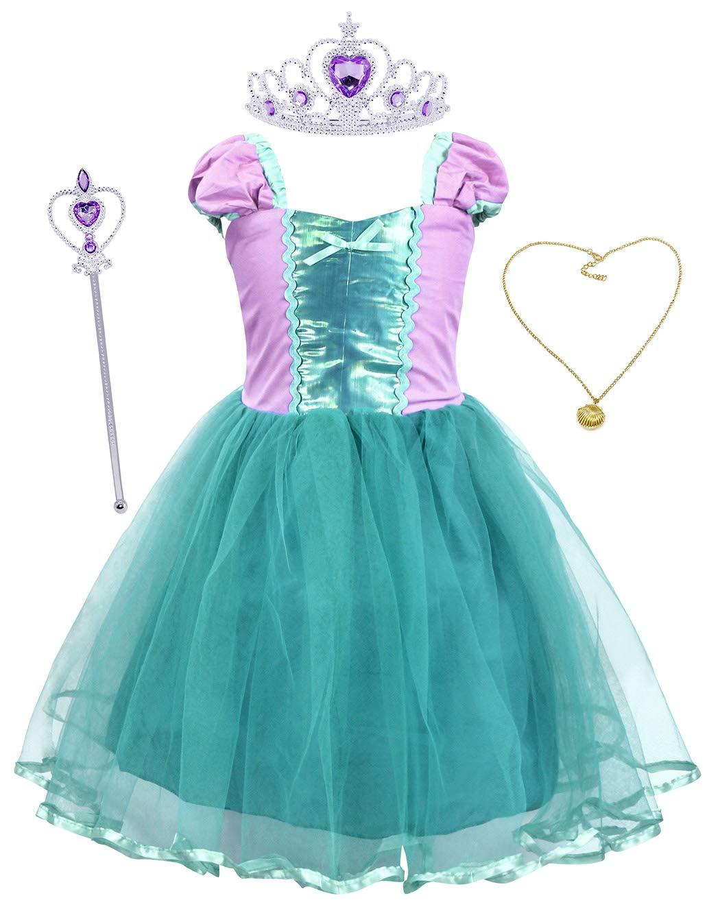 HenzWorld Mermaid Tutu Dress Princess Costume Birthday Party Cosplay Headband Jewelry Accessories Little Girls Outfits