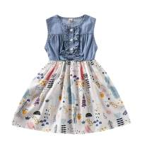 YOUNGER TREE Toddler Baby Little Girls Princess Dresses Summer Sleeveless Casual Denim Dress Floral Print Tutu Skirts