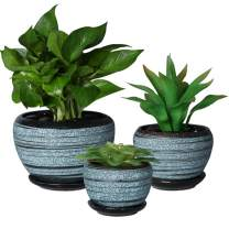 SQOWL Blue Flower Pots Round Ceramic Succulent Herbs Cactus Planters Small to Medium Sized with Saucers for Home Balcony Office Set of 3 Indoor Outdoor