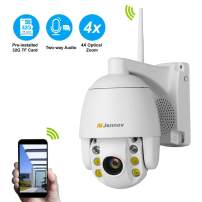 Two-Way Audio Wireless PTZ Security Camera,Jennov Home Surveillance Wireless Pan Tilt Zoom Camera Outdoor 1080p Strobe Light and Siren Alarm Weatherproof Wi-Fi(2.4G Only)/Ethernet Connection