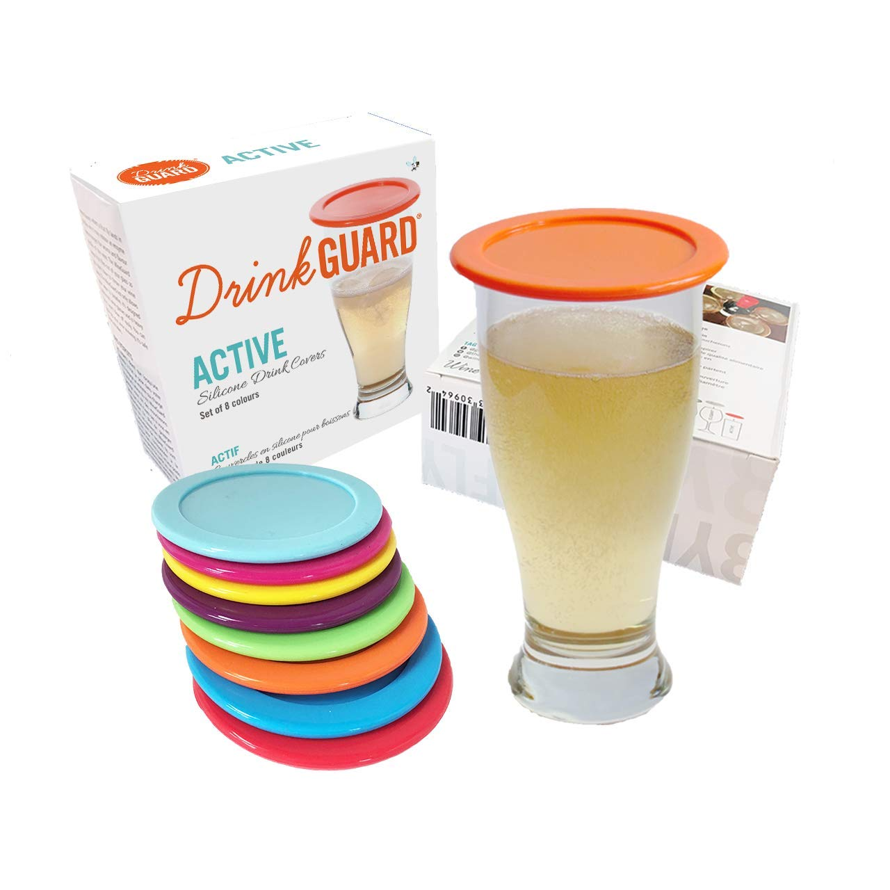 DrinkGuard - Silicone Drink Covers. Keep Your Drink Can, Beer Glass, Tea Cup & Coffee Mug Protected From Bugs & The Outdoors. Use as a Coaster. Microwave & Dishwasher Safe. Set of 8.