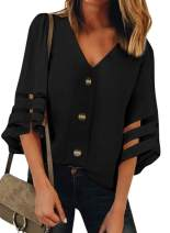 ZKESS Womens Casual V Neck Button Down Mesh Blouse 3/4 Bell Sleeve Loose Shirt Tunic Tops