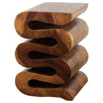 Haussmann Wood Wave Verve Accent Snake Table 14x14x20 in H Walnut Oil